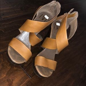 DVF Brown Leather CrissCross Wedges Size 7